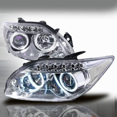 Headlights & Tail Lights - Headlights - Custom Disco - Scion tC Custom Disco Chrome LED Halo Projector Headlights - 3LHP-TC05B-KS