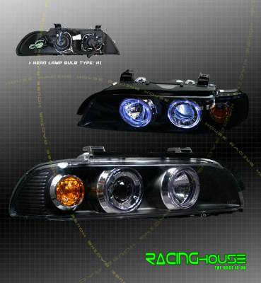 Headlights & Tail Lights - Headlights - Custom - Black Dual Halo Projector Headlights - Blue - Amber