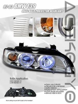 Headlights & Tail Lights - Headlights - Custom - Chrome Dual Halo Projector Headlights - Blue - Amber