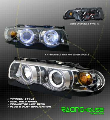 Headlights & Tail Lights - Headlights - Custom - Titanium Halo Projector Headlights  - Blue Halo - Amber