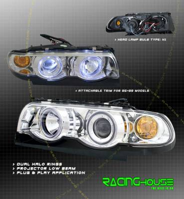 Headlights & Tail Lights - Headlights - Custom - Chrome Halo Projector Headlights - Blue Halo - Amber
