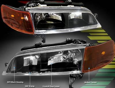 Headlights & Tail Lights - Headlights - Custom - JDM Black Housing Clear Lense Headlights Amber