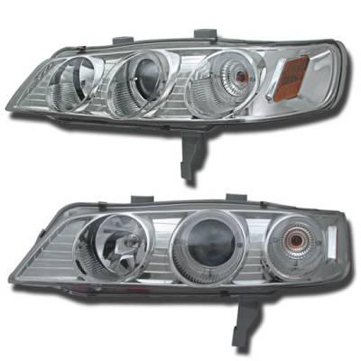 Headlights & Tail Lights - Headlights - Custom - Chrome Euro Dual Halo Pro Headlights Amber
