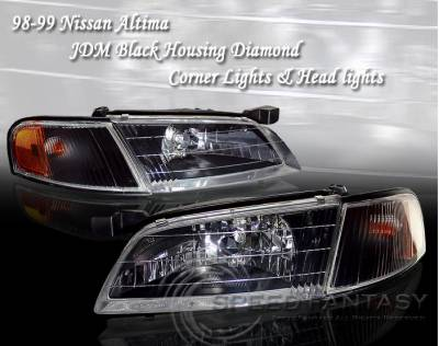 Headlights & Tail Lights - Headlights - Custom - JDM  Black Headlights Amber