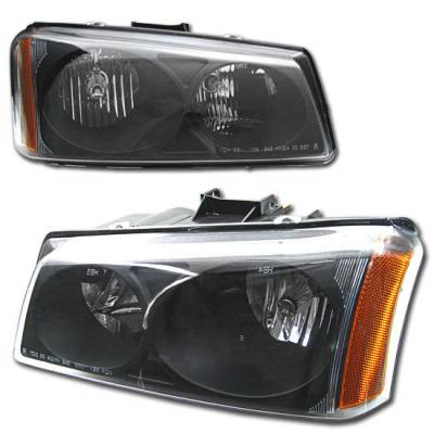 Headlights & Tail Lights - Headlights - Custom - JDM Black Crystal Headlights With Amber