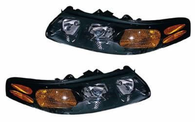 Headlights & Tail Lights - Headlights - Custom - Black Stock Headlights Amber