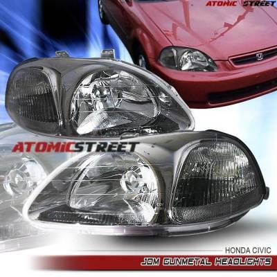 Headlights & Tail Lights - Headlights - Custom - Crystal Head Lights Gun Metal Amber