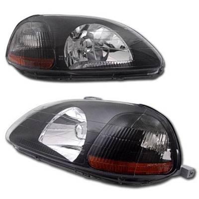 Headlights & Tail Lights - Headlights - Custom - Crystal Black Head Lights Amber