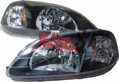 Headlights & Tail Lights - Headlights - Custom - Black Housing Headlights Amber