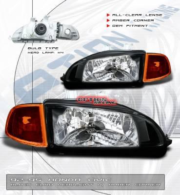 Headlights & Tail Lights - Headlights - Custom - Euro Clear Diamond Cut Headlights Amber