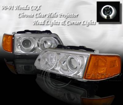 Headlights & Tail Lights - Headlights - Custom - Chrome Clear Halo Headlights Amber