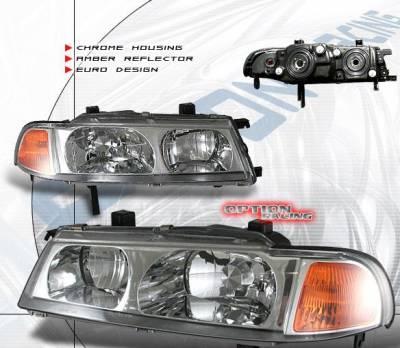 Headlights & Tail Lights - Headlights - Custom - JDM Chrome Housing  Headlights Amber