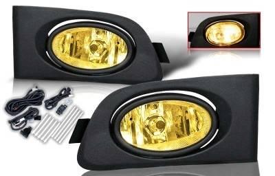 Headlights & Tail Lights - Fog Lights - WinJet - Honda Civic 2DR & 4DR WinJet OEM Fog Light - Yellow - Wiring Kit Included - WJ30-0036-12
