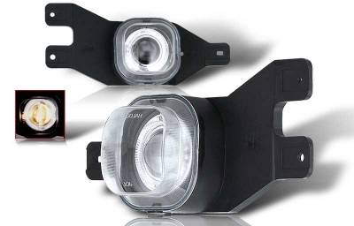 Headlights & Tail Lights - Fog Lights - WinJet - Ford F250 WinJet Halo Projector Fog Light - Clear - WJ30-0062-09