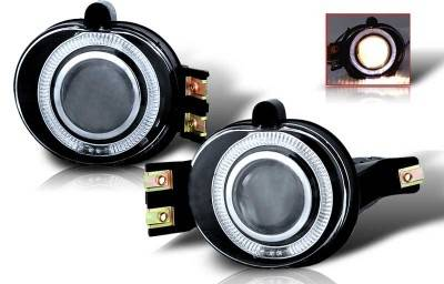Headlights & Tail Lights - Fog Lights - WinJet - Dodge Ram WinJet Halo Projector Fog Light - Clear - WJ30-0065-09