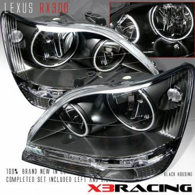 Headlights & Tail Lights - Headlights - Custom - 01-03 LEXUS RX300 HALO CRYSTAL HEADLIGHTS -JDM BLACK
