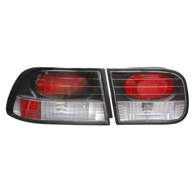 Headlights & Tail Lights - Tail Lights - APC - Honda Civic 2DR & 4DR APC Euro Taillights with Black Housing - 404150TLB