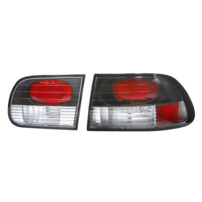 Headlights & Tail Lights - Tail Lights - APC - Honda Civic HB APC Euro Taillights with Black Housing - 404151TLB