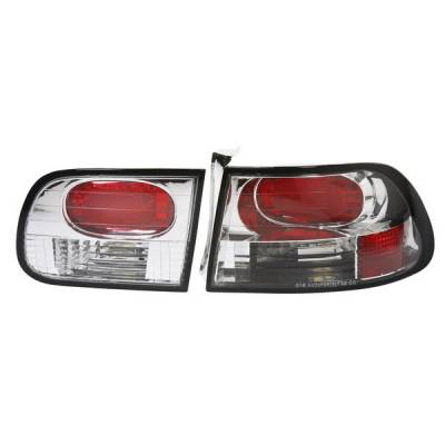 Headlights & Tail Lights - Tail Lights - APC - Honda Civic HB APC Euro Taillights with Chrome Housing - 404151TLR