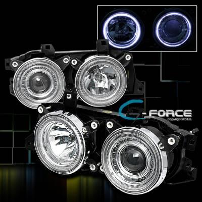 Headlights & Tail Lights - Headlights - Custom - Twin Halo Projector Headlights - Blue