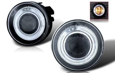 Headlights & Tail Lights - Fog Lights - WinJet - Dodge Dakota WinJet Halo Projector Fog Light - Clear - WJ30-0095-09