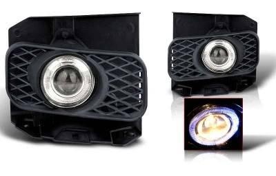 Headlights & Tail Lights - Fog Lights - WinJet - Ford F150 WinJet Halo Projector Fog Light - Smoke - WJ30-0100-11