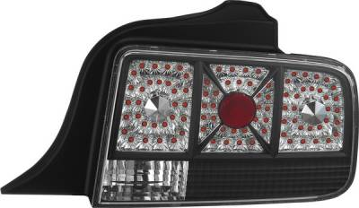 Headlights & Tail Lights - Tail Lights - APC - Ford Mustang APC Diamond Cut Taillights with Black Housing - 407513TLB
