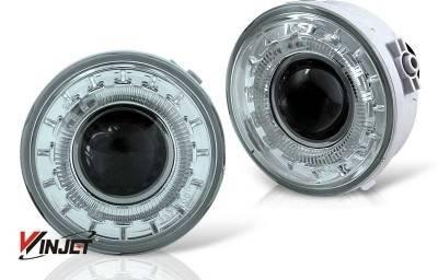 Headlights & Tail Lights - Fog Lights - WinJet - Ford F150 WinJet Halo Projector Fog Light - Smoke - WJ30-0155-11