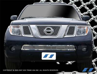 Grilles - Custom Fit Grilles - SES Trim - Nissan Frontier SES Trim Chrome Plated Stainless Steel Mesh Grille - Bottom - MG128B