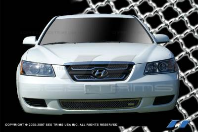 Grilles - Custom Fit Grilles - SES Trim - Hyundai Sonata SES Trim Chrome Plated Stainless Steel Mesh Grille - Top & Bottom - 3PC - MG134A-B