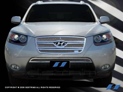 Grilles - Custom Fit Grilles - SES Trim - Hyundai Santa Fe SES Trim Chrome Plated Stainless Steel Mesh Grille - Top & Bottom - MG150A-B