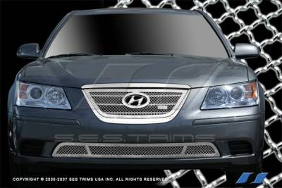 Grilles - Custom Fit Grilles - SES Trim - Hyundai Sonata SES Trim Chrome Plated Stainless Steel Mesh Grille - Bottom - MG197