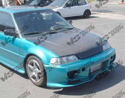 CRX - Front Bumper - VIS Racing - Honda CRX VIS Racing Invader Front Bumper - Polyurethane - 88HDCRXHBINV-001P
