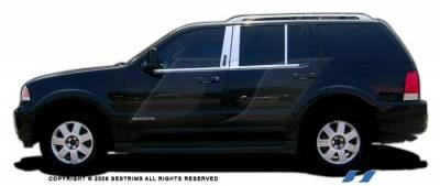 Aviator - Body Kit Accessories - SES Trim - Lincoln Aviator SES Trim Pillar Post - 304 Mirror Shine Stainless Steel - with Keypad - 6PC - P101