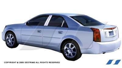 CTS - Body Kit Accessories - SES Trim - Cadillac CTS SES Trim Pillar Post - 304 Mirror Shine Stainless Steel - 6PC - P136