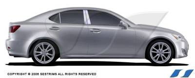 IS - Body Kit Accessories - SES Trim - Lexus IS SES Trim Pillar Post - 304 Mirror Shine Stainless Steel - 6PC - P138