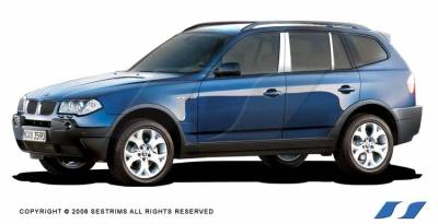 X3 - Body Kit Accessories - SES Trim - BMW X3 SES Trim Pillar Post - 304 Mirror Shine Stainless Steel - 6PC - P143