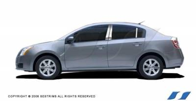 Sentra - Body Kit Accessories - SES Trim - Nissan Sentra SES Trim Pillar Post - 304 Mirror Shine Stainless Steel - 6PC - P163