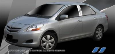Yaris - Body Kit Accessories - SES Trim - Toyota Yaris SES Trim Pillar Post - 304 Mirror Shine Stainless Steel - 6PC - P173