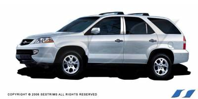 MDX - Body Kit Accessories - SES Trim - Acura MDX SES Trim Pillar Post - 304 Mirror Shine Stainless Steel - 6PC - P176