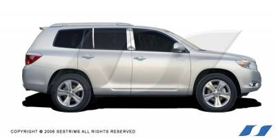 Highlander - Body Kit Accessories - SES Trim - Toyota Highlander SES Trim Pillar Post - 304 Mirror Shine Stainless Steel - 6PC - P184