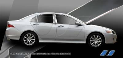 TSX - Body Kit Accessories - SES Trim - Acura TSX SES Trim Pillar Post - 304 Mirror Shine Stainless Steel - 6PC - P209