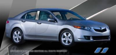 TSX - Body Kit Accessories - SES Trim - Acura TSX SES Trim Pillar Post - 304 Mirror Shine Stainless Steel - 6PC - P213