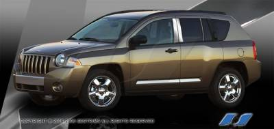Compass - Body Kit Accessories - SES Trim - Jeep Compass SES Trim Pillar Post - 304 Mirror Shine Stainless Steel - 6PC - P219