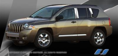 Compass - Body Kit Accessories - SES Trim - Jeep Compass SES Trim Pillar Post - 304 Mirror Shine Stainless Steel - 8PC - P226