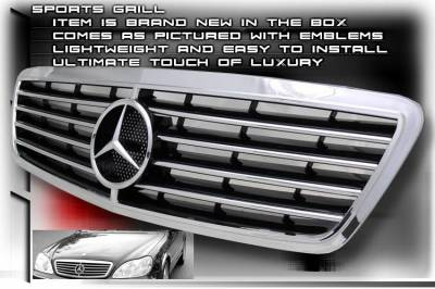 Grilles - Custom Fit Grilles - Custom - S Class Sports Grille - Chrome