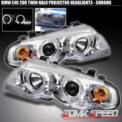 Headlights & Tail Lights - Headlights - Custom - Twin Halo Projector Headlights - Chrome