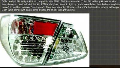 Headlights & Tail Lights - Led Tail Lights - Custom - E90 LED Tail Chrome