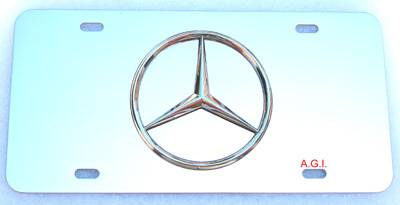 Accessories - License Plate Frames - Custom - Mercedes LOGO Plate Chrome