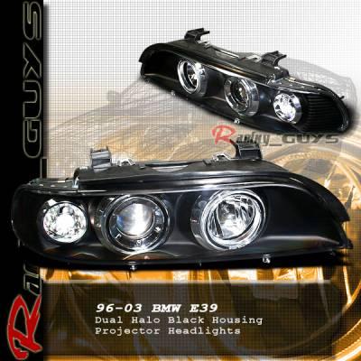 Headlights & Tail Lights - Headlights - Custom - Black Dual Halo Projector Headlights - Clear